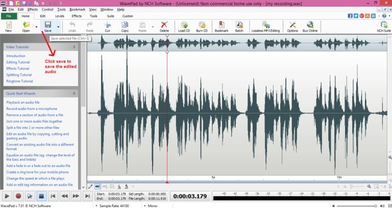 wavepad sound editor save