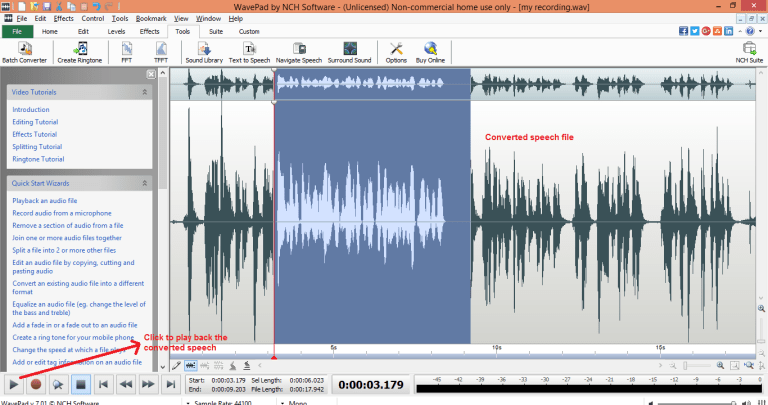wavepad sound editor text-speech play