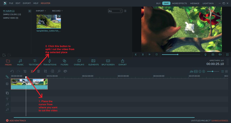 wondershare video editor cut