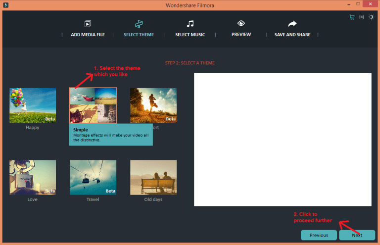 wondershare video editor easymode theme