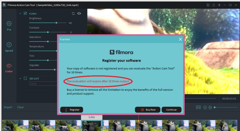 wondershare video editor limitation2