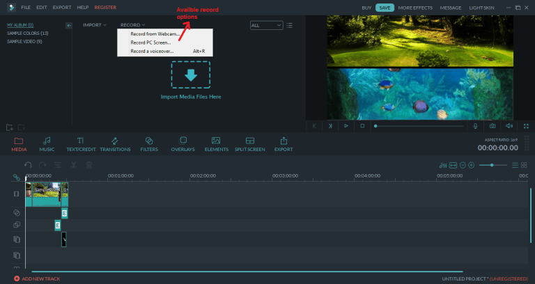wondershare video editor record