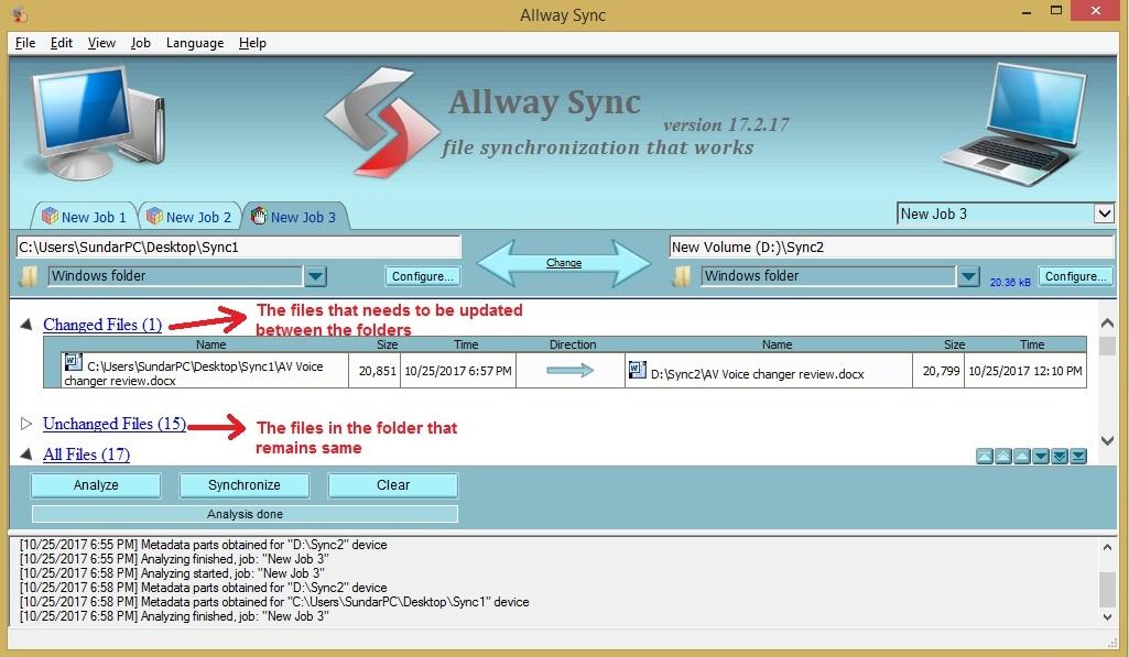 Allway Sync analyze