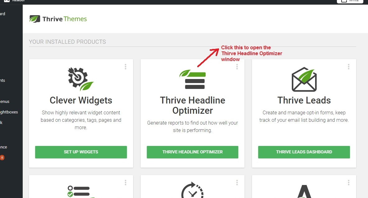 Thrive Headline Optimizer open