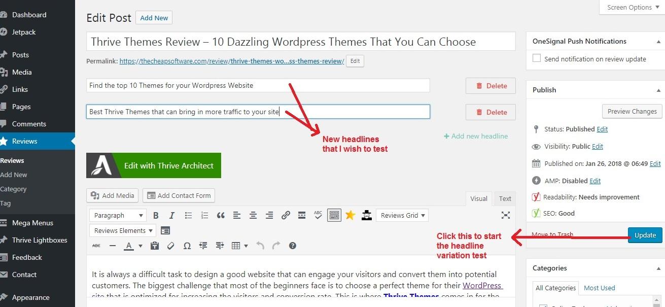 Thrive Headline Optimizer start test_postpage