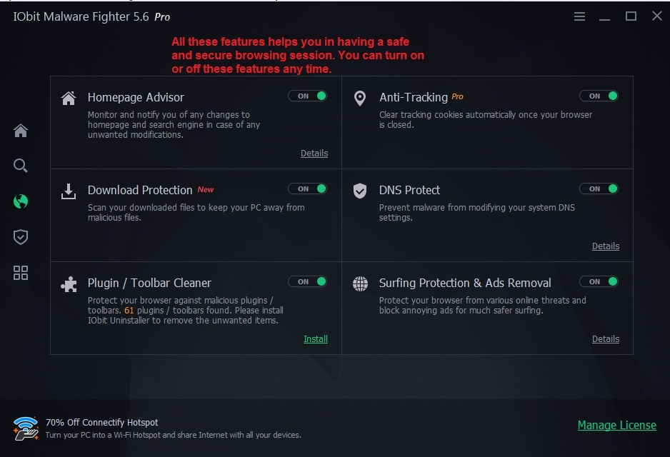 IObit malware fighter browse protect
