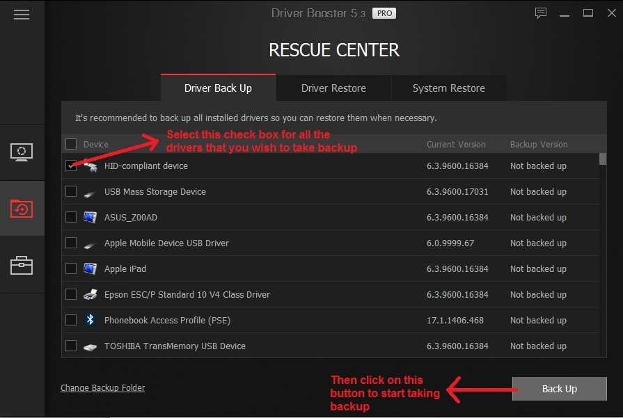 IObit driver booster backup