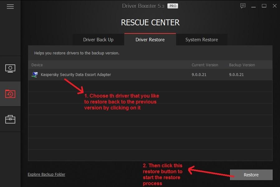 IObit driver booster restore