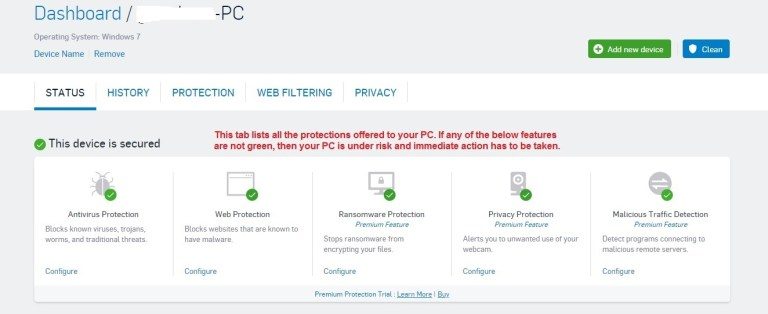 Sophos Antivirus status tab
