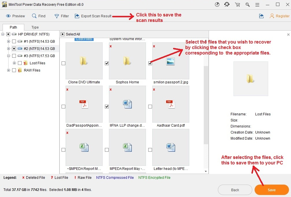 MiniTool Power Data Recovery select files