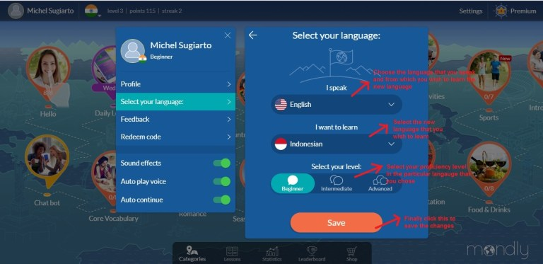 Mondly language page