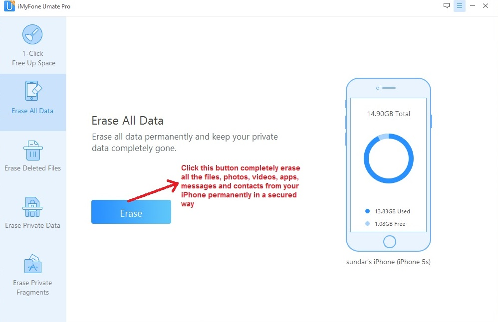 Umate PRO erase all data