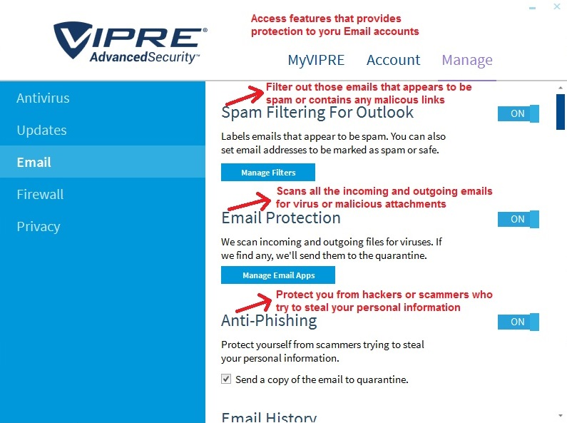 Vipre Antivirus manage email