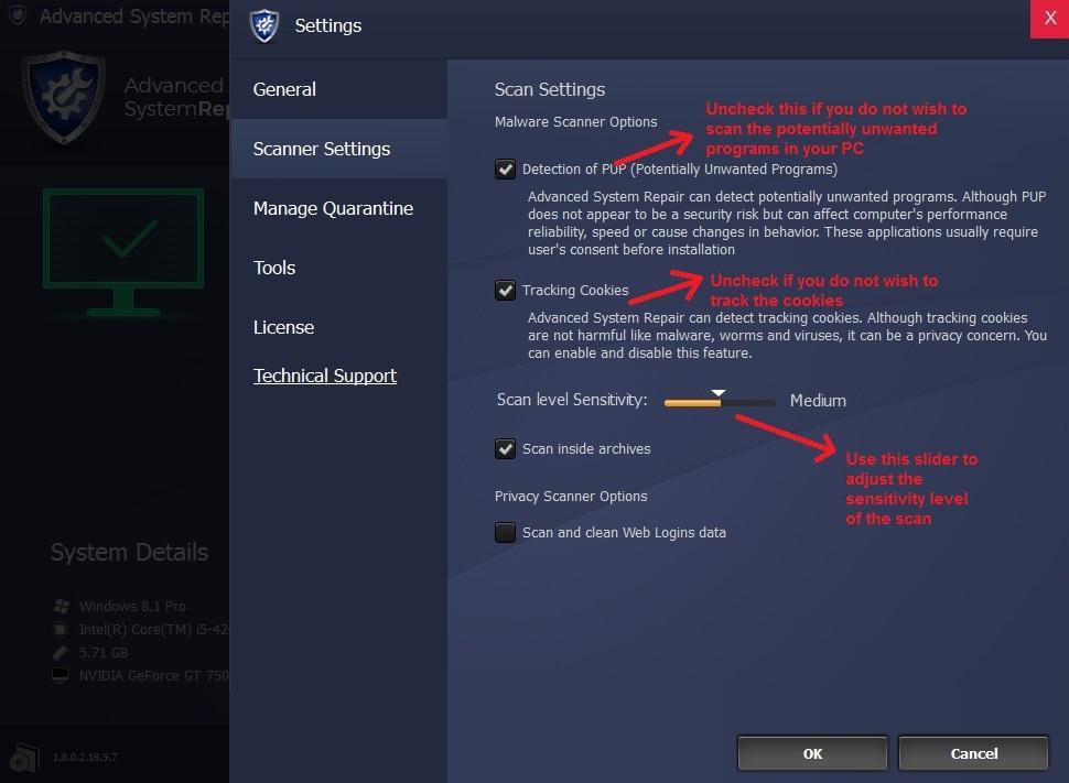Advanced System Repair menu scanner settings