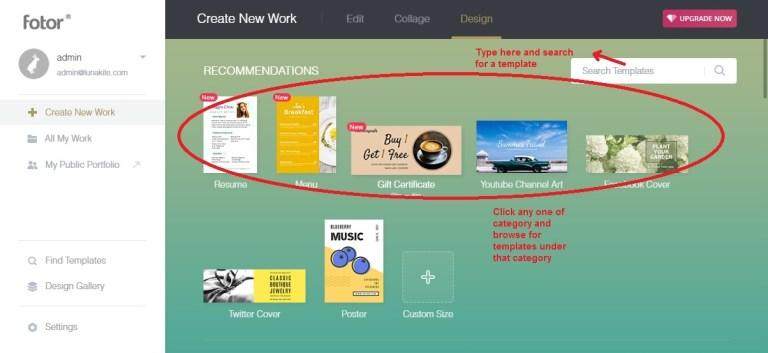 Fotor design select template