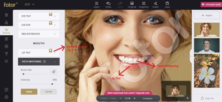 Fotor edit beauty mouth