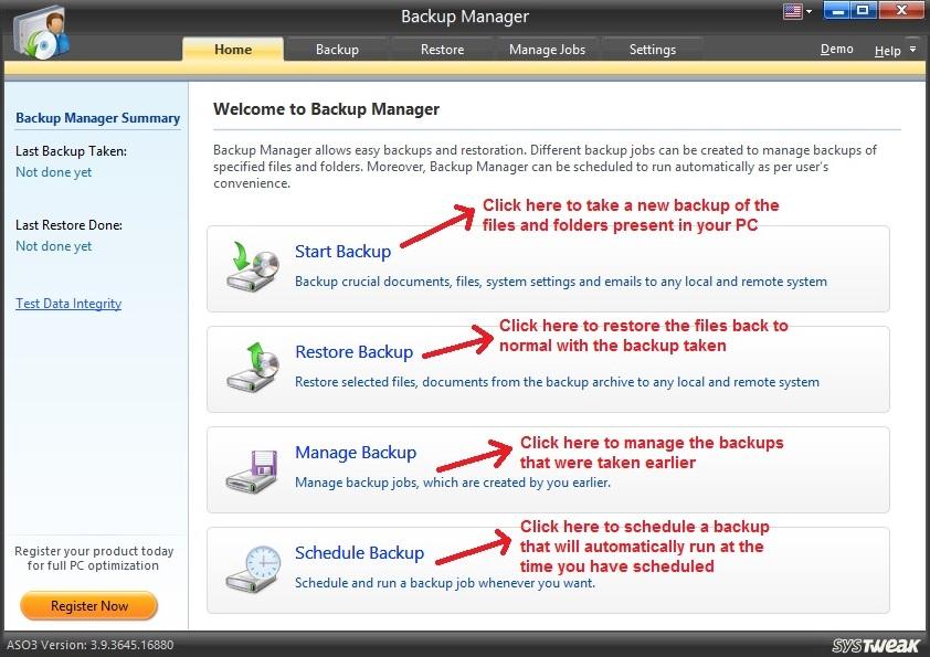 Advanced System Optimizer Backup Manager