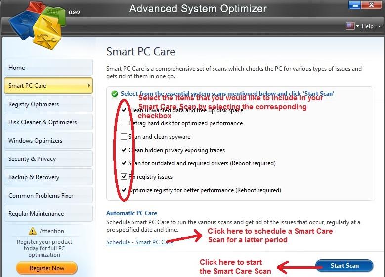 Advanced System Optimizer Smart Care Scan
