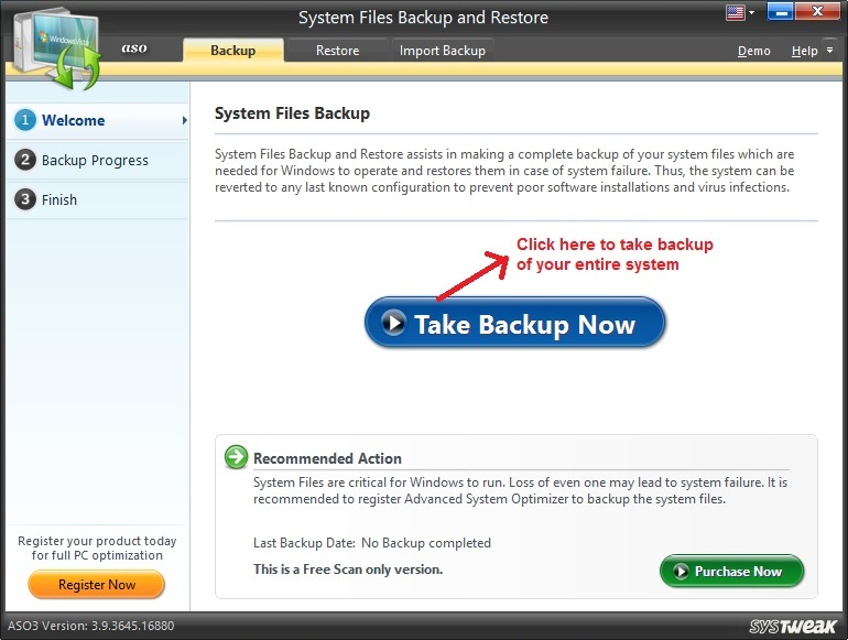 Advanced System Optimizer System Backup