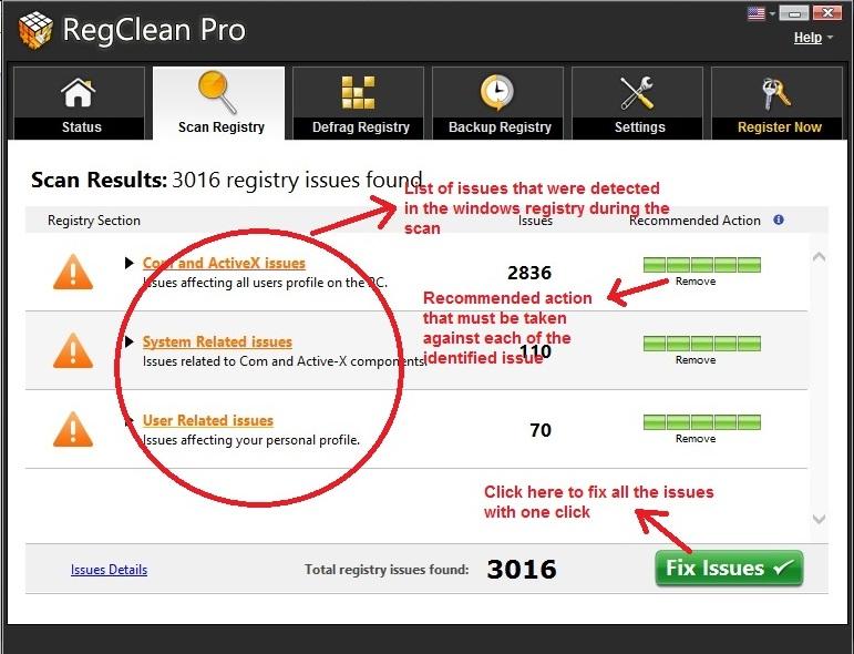 RegClean Pro scan registry