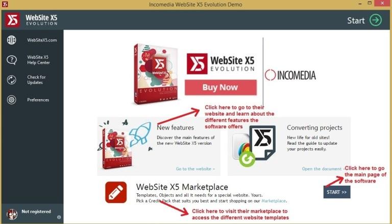Websiet X5 homepage