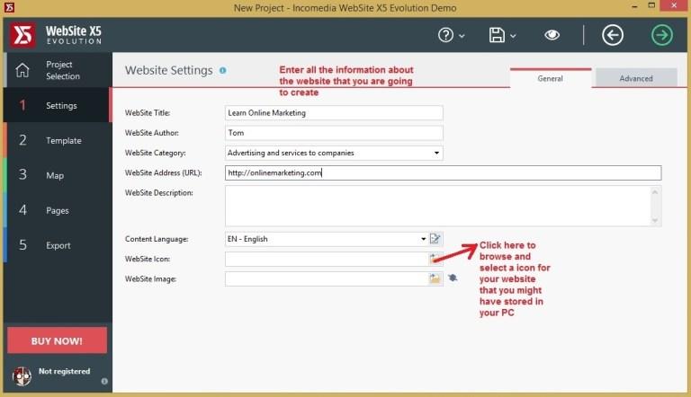 Websiet X5 settings general