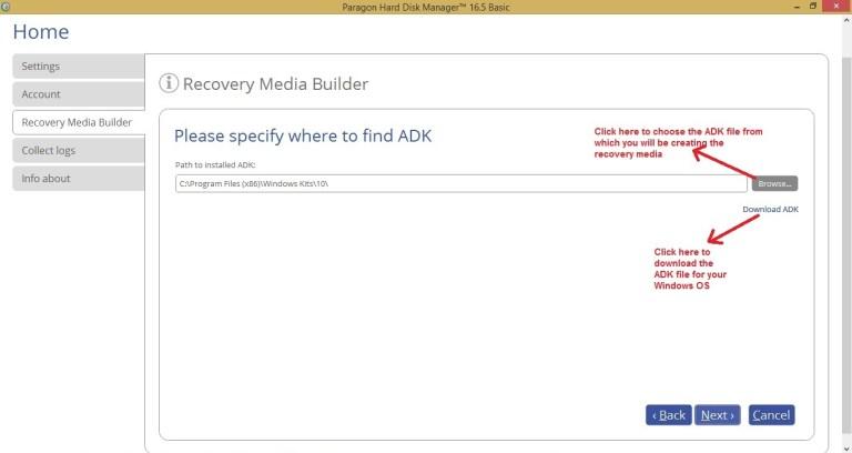 Paragon HDM recovery media choose ADK