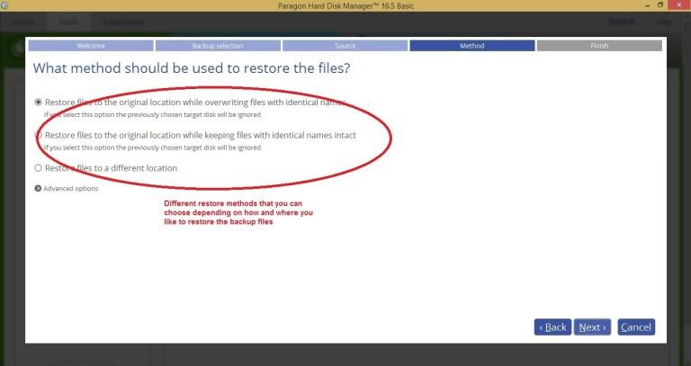 Paragon HDM tools restore select method