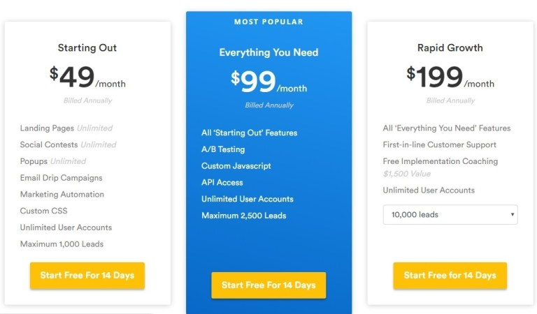 Wishpond price comparison
