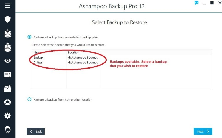 Ashampoo Backup restore select backup