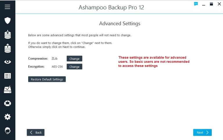 Ashampoo Backup select encryption advanced settings