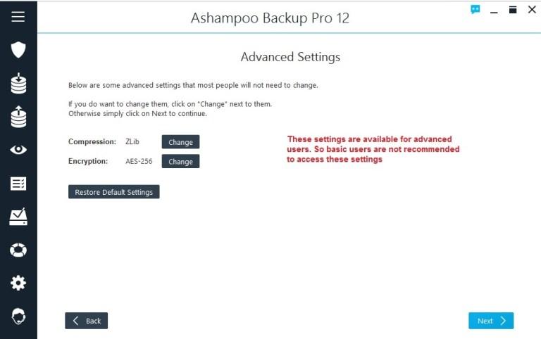 Ashampoo Backup select encryption advanced settings