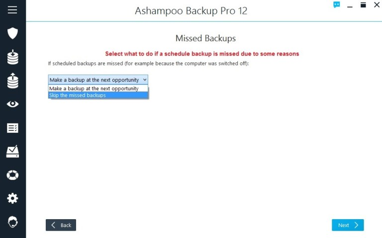 Ashampoo Backup select missed backup