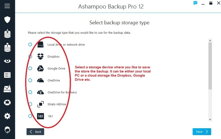Ashampoo Backup select storage place