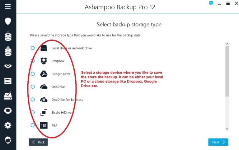 Ashampoo Backup select storage place