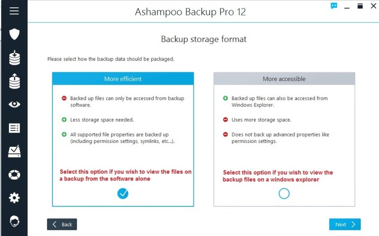 Ashampoo Backup select view backup option