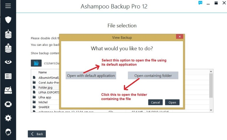 Ashampoo Backup view backup open file