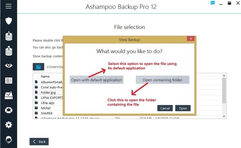 Ashampoo Backup view backup open file