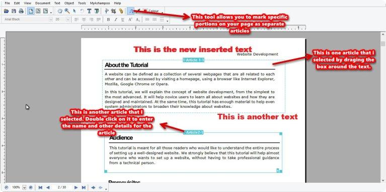 Ashampoo PDF Pro article tool