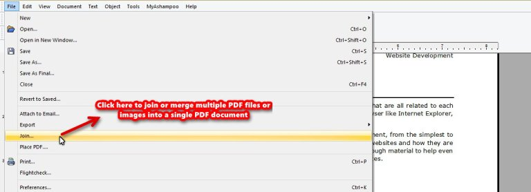 Ashampoo PDF Pro join tool