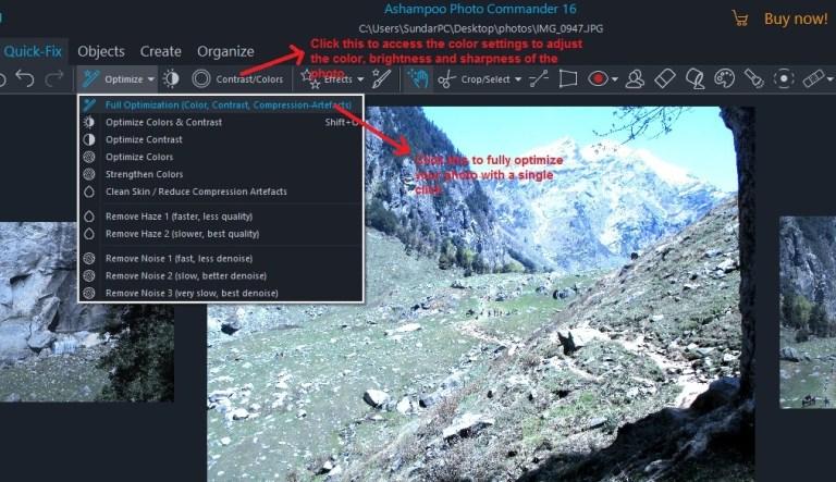 Ashampoo Photo Commander quick-fix optimization