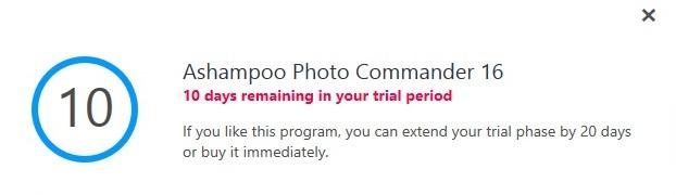 Ashampoo Photo Commander trial limitation