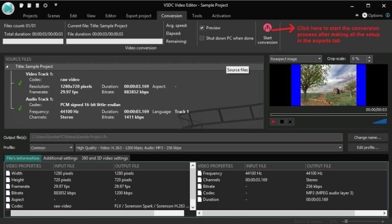 VSDC Video Editor conversion