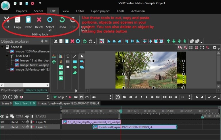 Edit window with all the editing tools
