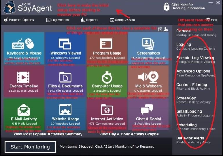 Spytech Spyagent home screen