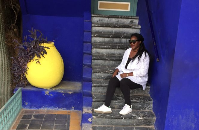 Lavonne at Le Jardin Majorelle in Marrakech Morocco