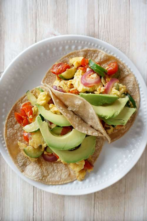 Easy Veggie Breakfast Tacos come together super quickly for a satisfying breakfast that is good for you and tastes great! The Cheerful Kitchen