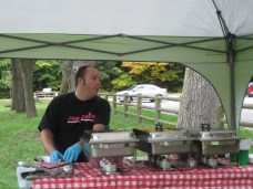 Jason Rees, pitmaster for the Pork Ninjas BBQ team brought his amazing food for lunch