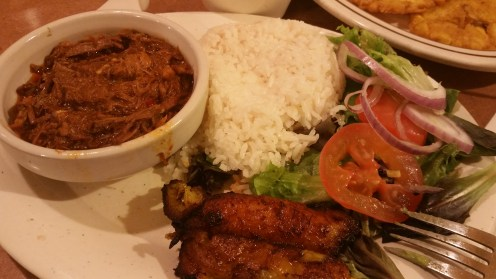 My Dinner of Ropa Veija, white rice, black beans, plantains and a salad... yummy