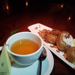 Dessert Fried Sweet Potato Donuts with Green Tea.